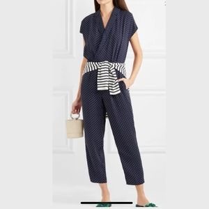 NWT J. Crew Navy Pin Dot Jumpsuit, 6, 12, 14
